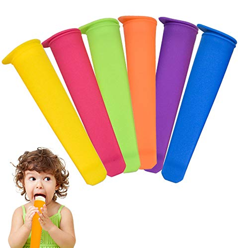 NATUCE 6PCS Silicone Popsicle Molds with Lids  Ice Pop Mould  Colorful Ice Lolly Molds  Reusable Ice Lolly Moulds Ice Lolly Makers  Popsicle Moulds for Kids- Food Grade  BPA Free  Dishwasher Safe