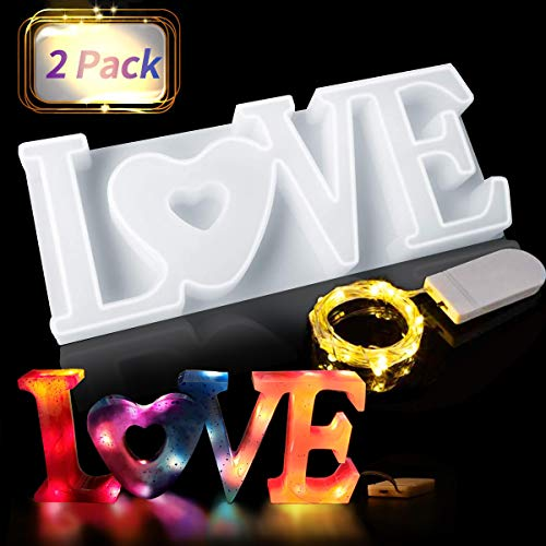 Jeteven Love 3D Silicone Mould Candle Moulds Crystal Shape Epoxy Resin Shape with LED Light Chain Resin Mould for Crafts  DIY Table Decoration  Wedding