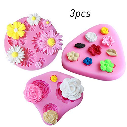 kuou 3 Pieces Silicone Flower Moulds  Silicone Roses Flower Leaves Mould Fondant Mould for Polymer Clay Candy Chocolate Fondant Cake Decoration