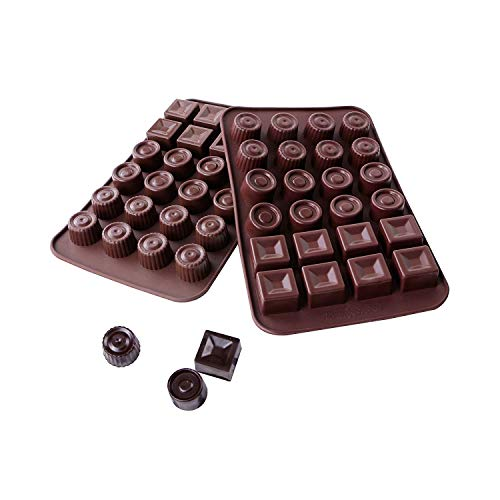Webake Chocolate Mould Set of 2 Silicone Chocolate Moulds Non-Stick Coating BPA Free Silicone Mould Chocolates Ice Cube Mould