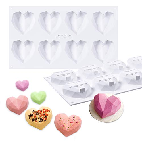 Janolia Heart-shape Chocolate Mould  8 Grids Silicone 3D Diamond Candy Mold Trays  for Cake Decorating  Baking  Candy Making  Chocolate  Cupcake  Toppers  Even for DIY Soap Candle