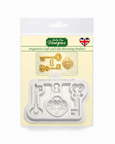 Decorative Keys and Locket Embellishment Silicone Mould for Cake Decorating  Crafts  Cupcakes  Sugarcraft  Candies  Chocolate  Card Making and Clay  Food Safe Approved  Made in The UK