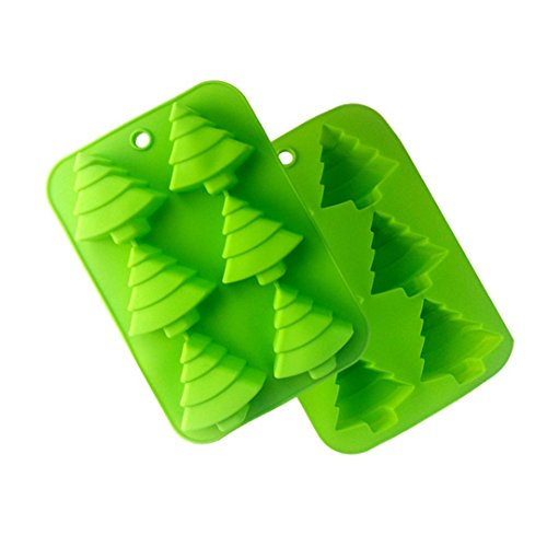 FantasyDay® 2 Pack Christmas Tree Silicone Candy Moulds Gummy Mold Biscuit Mould Candle Mould Soap Mould  Perfect for Holiday Candy  Cake  Cookies  Fudge  Chocolate  Soap  Gummy  Ice Cube and More