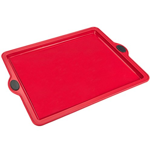 Levivo Silicone Baking Pan 26 x 20 cm  Non Stick Cake Pan in Red  Microwave and Freezer Safe Loaf and Cake Mould