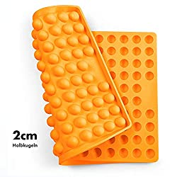 Collory Silicone Baking Mat 2 cm Hemisphere Baking Mould for Dog Biscuits Heat Resistant 240 °C 40 x 28.5 x 1.5 cm Food Safe (BPA Free) Chocolate Mould  Orange  40cm x 28.5cm x 1.5cm