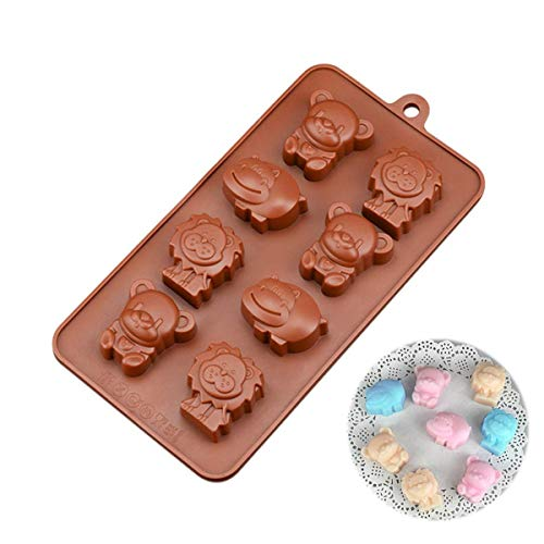 FantasyDay Lion Hippo Cute Animal Silicone Mould Baking Molds Bakeware for Halloween Easter Chocolate  Muffin Cups  Ice Cube  Soap  Cake  Bread  Tart  Pie  Flan  Pudding  Candy  Jello Shot and More