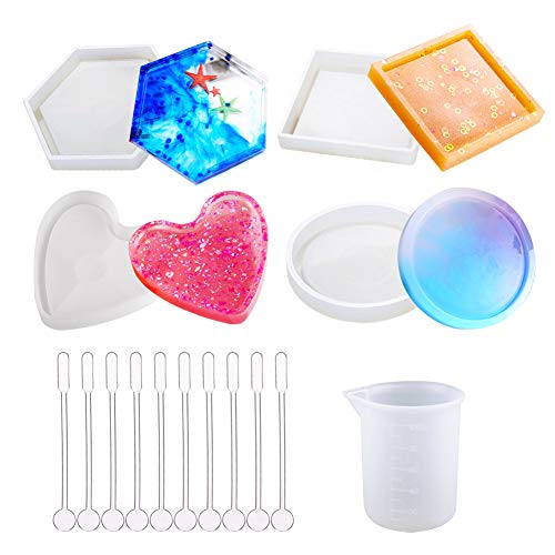 Keyzone 4 Pack DIY Coaster Silicone Mould  Epoxy Casting Molds Include Round  Hexagon  Square  Heart Molds for Resin  Concrete  Cement with 1 Measurement Cup and 10 Plastic Sticks