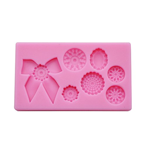DeColorDulce Pink Silicone 3D Mould with a Buttons and Bow Design - 16 x 10 x 3 cm