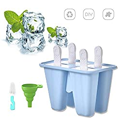 Popsicle Molds Silicone Ice Cream Mould Kids Ice Lolly Mold with Sticks and Drip Guards Reusable Ice Pop Makers in 4 Cell Blue
