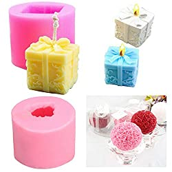 Rose Flower Box Candle Silicone Moulds Homemade Soap Making Mould for Cake Decoration Wedding Baby Shower Birthday Christmas Gift DIY Craft Pack of 2 (Pink)