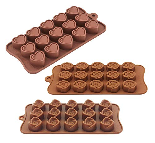 MUCHEN SHOP Silicone Chocolate Mould 3 Pack Candy Molds Nonstick Chocolate Moulds Heart Flower Shape Baking Trays for Valentine's Day Christmas Party