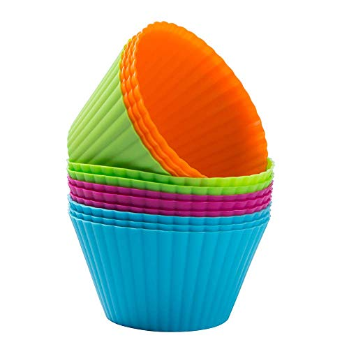 Webake Silicone Muffin Cupcake Cases 9cm Large Cupcake Moulds Baking Cups Reusable Non-Stick Jelly Cake Mould for Cakes Ice Creams Puddings Jelly  Pack of 12