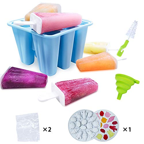 Zdada Silicone Ice Lolly Moulds - 6 Pieces Popsicle Molds Ice Cream Mould Set for Children Adults  BPA Free(Gifts-1P Funnel 1P Brush 1P Cartoon Mold 2P Ice Cube Bags)