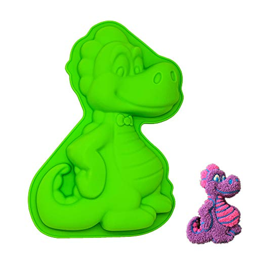 KeepingcooX® 3D Dinosaur Happy Birthday Cake Tin for Kids - Food-Grade Silicone Baking Mould Tray  Heat Resistant  Nonstick  24 x 4 x 17 cm