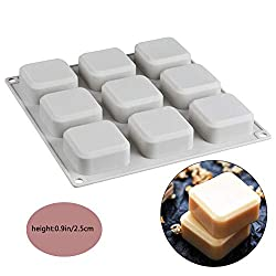 9-Cavity Square Soap Mold Silicone Cake Mould  Square Chocolate Pudding Pan Jelly Muffin Ice Cube Trays Food Grade DIY Homemade Craft