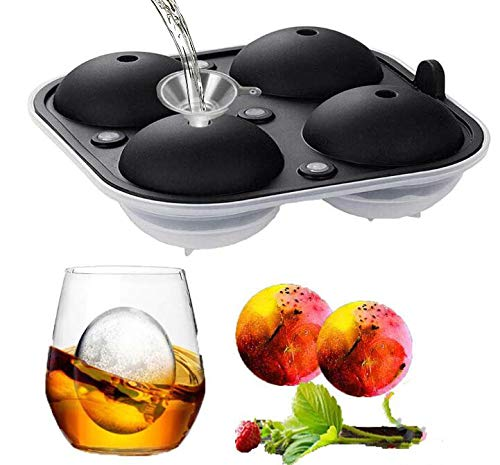 Silicone Ice Cube Mould for 4 Large Ice Balls  Plastic Bottom Silicone Mould Round ice Cubes 16 * 16 * 6.5cm Round Sphere Large Ice Cube Tray to Make Massive Sized Whiskey Ice(1pack)