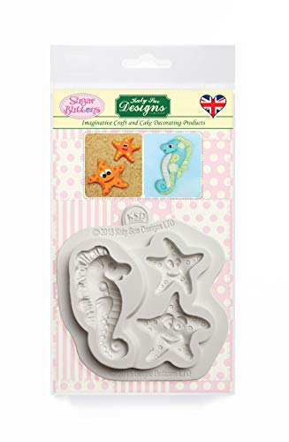 Starfish and Seahorse Silicone Mould for Cake Decorating  Crafts  Cupcakes  Sugarcraft  Candies  Cards  Soaps and Clay  Food Safe Approved  Made in The UK  Sugar Buttons by Kathryn Sturrock