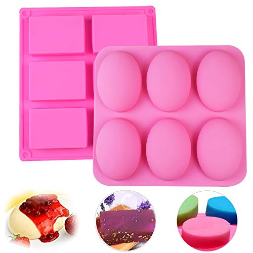 Silicone Soap Molds  2Pcs 6 Cavity Rectangle and Oval Silicone Mould Baking Chocolate Square DIY Soap Mold Jelly Ice Cake Silicone Moulds