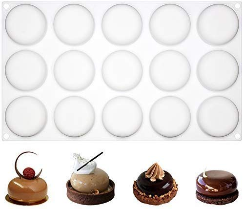 musykrafties 15 Cavities Curved Round Stone Mousse Cake Silicone Mould Tray per Cavity 1.8x1.8x0.7inch