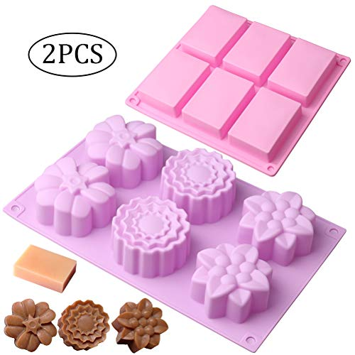 pengxiaomei 2 Pcs Soap Making Molds  6 Cavity Rectangle Soap Mould Silicone for Cake  Bread  Biscuit  Chocolate & Make Homemade Bar Soap (Pink&Purple)