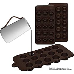 Set of 2 Silicone Chocolate Moulds Round and Squares - Silicone Mould (BPA-Free) for Chocolate