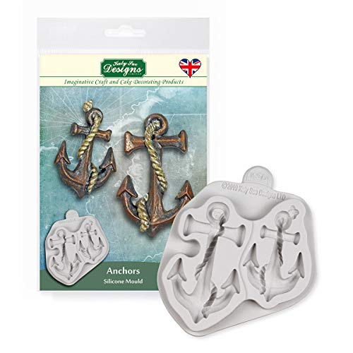 Katy Sue Designs CE0099 Anchors Silicone Mould for Cake Decorating  Crafts  Cupcakes  Sugarcraft  Cookies  Candies  Cards and Clay  Food Safe Approved  Made in The UK