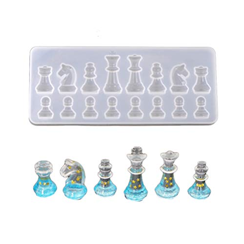 Exceart Silicone Resin Casting Molds Chess Board Mold 3D Chess Mould for Epoxy Polymer Clay Crafting DIY Crafts