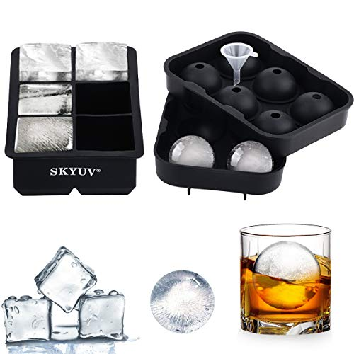 SKYUV Ice Cube Trays (Set of 2)  Large Ice Ball Cube Maker with Funnel  BPA Free Silicone Ice Molds for Summer Whiskey Cocktail Candy Pudding Jelly Milk Juice Chocolate Mould (Black)