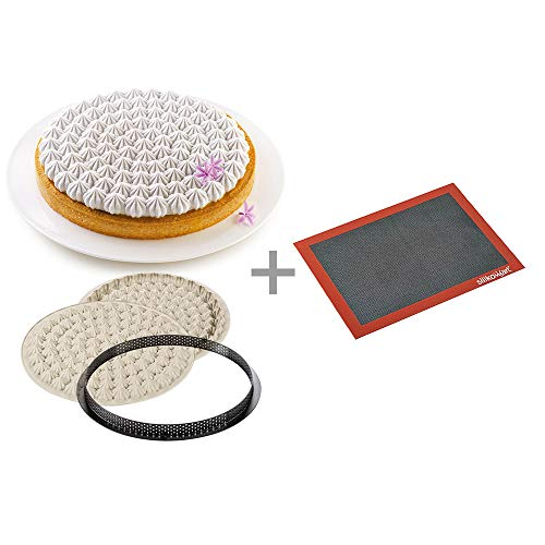 Silikomart 25.009.99.0082 Air Mat + Tart Kit Meringue Set: Silicone Mat Mould + Ring  Grey