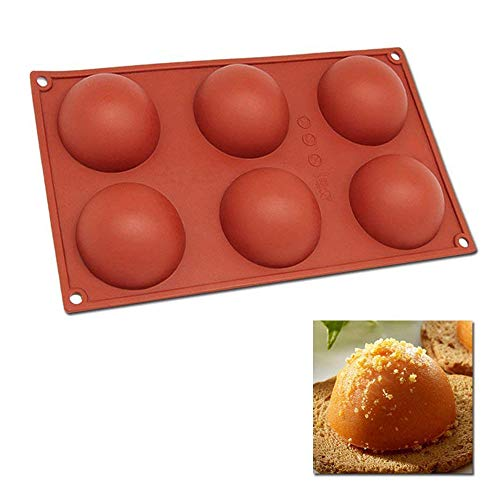 Silicone Baking Mould Hemisphere DiDaDi 6-Cavity Half Circle DIY Cake Baking Mould Silicone Mold for Making Delicate Chocolate Desserts Ice Cream Bombes Cakes Soap etc
