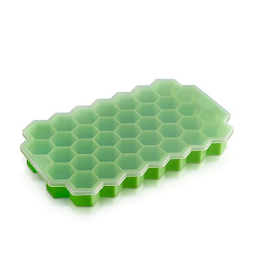 ounona Silicone Freezer Box with Lid Ice Mould Ice Tray (Green 37 Pots de Conservation Easy to Remove)