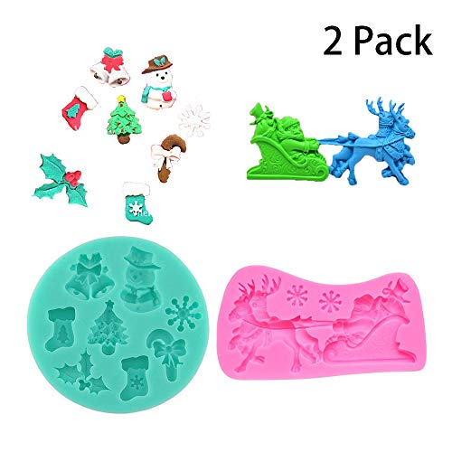 Kungfu Mall 2PCS Christmas Cake Moulds Snowman Snowflake Santa Sleigh Christmas Silicone Candy Cake Mould Fondant Cake Chocolate Mold Mould