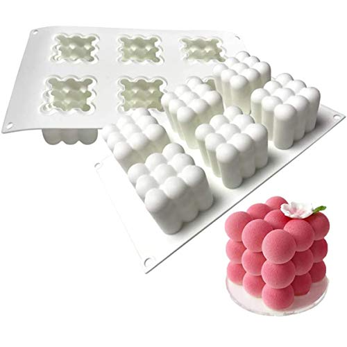 MKNZOME 6 Cavity Silicone Mould 3D Rubik's Cube Shaped Cake Baking Mold Bakeware Muffin Tray DIY Tools for Cake Candy Chocolate Cupcake Jelly Handmade Soap Candles