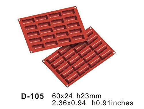 Silicone Bakeware 20 Cavity Log Non Stick Quality Silicone Baking Mould  red/Brown  29.5x17.5x1.5 cm