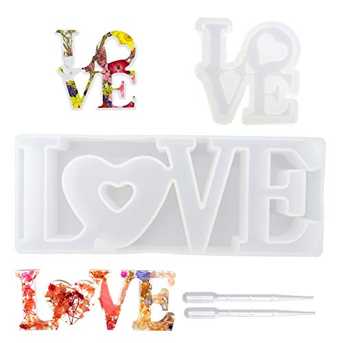 Epoxy Resin Moulds  Meaningful Romantic Love Heart Mould Resin Molds Silicone Poxy Resin Moulds for Dating Wedding Decorate - 4 Pcs