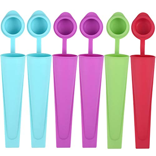 NATUCE 6PCS Colorful Silicone Popsicle Molds with Lids  Ice Pop Mould  Ice Lolly Molds  Reusable Ice Lolly Moulds Ice Lolly Makers  Popsicle Moulds for Kids- Food Grade  BPA Free  Dishwasher Safe