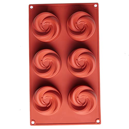 Spiral Silicone Mold  6 Holes Baking Mould Cake Pan Biscuit Chocolate Mold for Cake Decoration  Ice Cube Tray