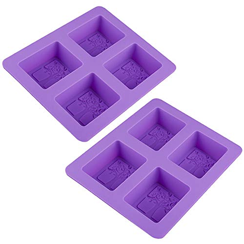 Mirrwin Rectangular Handmade soap Mold Silicone Soap Mold Craft Molds DIY Handmade soap Moulds Square Soap Mould Purple Suitable for Home Baking and Various DIY soap Chocolates etc 2 Pieces