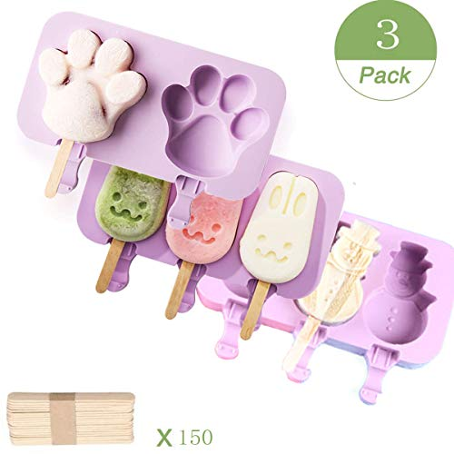 Lovetotoro 3 Set Ice Lolly Moulds with 150 Sticks  Silicone Ice Cream Lolly Mould Popsicle Molds Set Food Grade BPA Free Popsicle Molds for Kids Adults Dessert Chocolate DIY