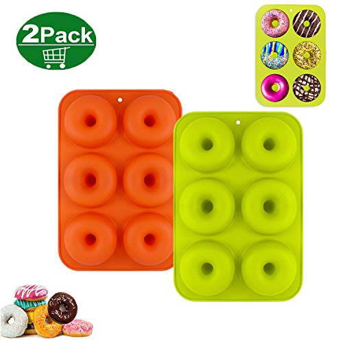 Doughnut Mould  2PCS Donut Mould  6 Cavity Non-Stick Safe Silicone Doughnut Moulds for Cake Biscuit Bagels Muffins (Orange  Green)