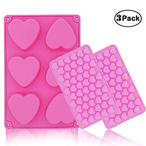 JEZOMONY Silicone Chocolate Cake Pudding Gummy Molds, Heart Shaped and Mini Heart Shape Jello and Ice Cube TrayHandmade Soap Mould Candy Making Food Grade Nonstick Molds - 3PC