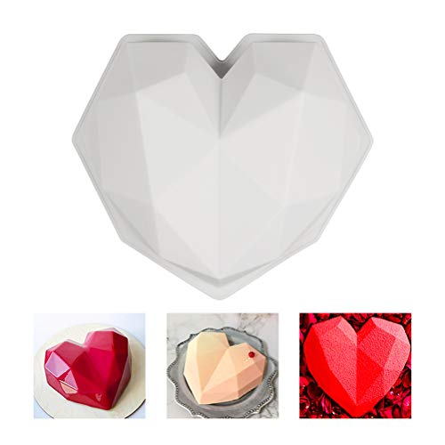Macabolo 3D Silicone Cake Mold Diamond Heart Shape Chocolate Pastry Mousse Dessert Mould DIY Baking Tool