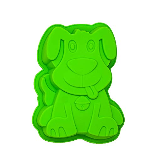 KeepingcooX Puppy Dog Silicone Cake Baking Tin Pan | Small Happy Birthday Cake Mold for Kids | Cute Animal Shaped Chocolate Pie Mould Tray DIY for Clay  Cake Decorating and Sugarcraft  20 x 16 x 4 cm