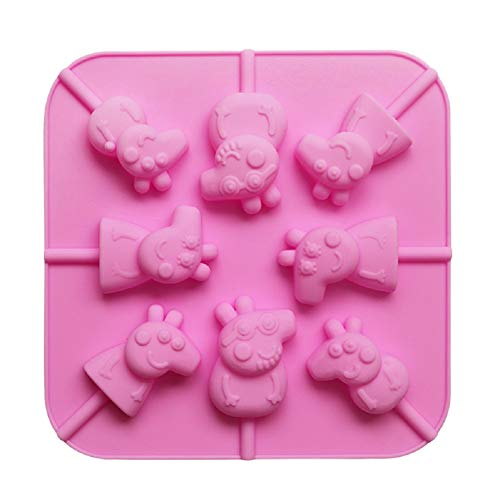 Mini Cartoon Pig 3D Silicone Lollipop Shaping Mould & Sticks Kit Pink - Lollipops Cooking Jelly Chocolate Fondant Pigs Moulding Sweets Shape Tool - Non Stick - 8 Cavity - Dishwasher Safe - 14x14x1.8cm