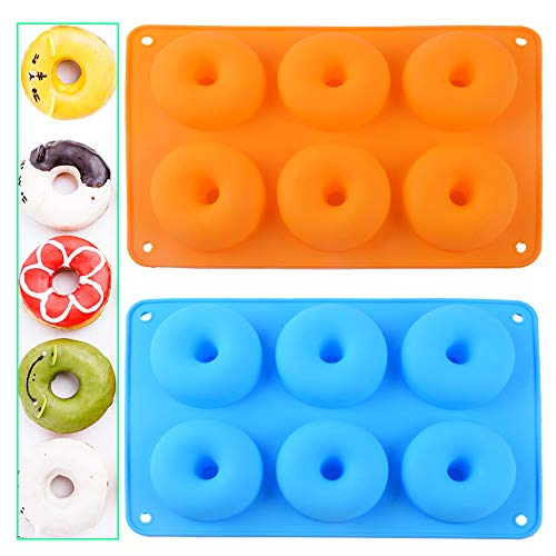 Mirrwin Doughnut Mould Silicone Mold Donut Non-Stick Donut Mould Baking Tray Donut Baking Pans Silicone Doughnut Moulds with 6 Cavities Suitable for Cakes Biscuits Bagels Muffins 2 Pieces Blue+Orange