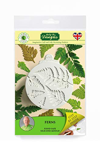 Ferns Silicone Sugarpaste Icing Mould and Veiner  Flower Pro by Nicholas Lodge for Cake Decorating  Crafts  Cupcakes  Sugarcraft  Candies  Cards and Clay  Food Safe Approved  Made in The UK