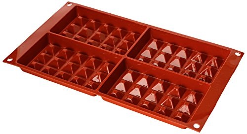 silikomart 26.155.00.0060 SF155 Waffle Mould Large Terracotta 4 Moulds Silicone