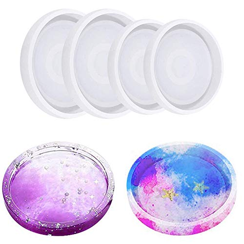 Silicone Casting Resin Molds Round Moulds Making Cup Mat Epoxy Mould Clay Coaster Epoxy Resin Jewellery Mold for Home Decoration Craft DIY 4Pcs