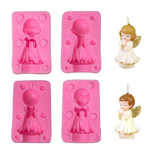 WANDIC Silicone Mould  3D Decorating Angel Mold for Candle Soap DIY Toys Decorative Ornaments Art Craft  Boy & Girl