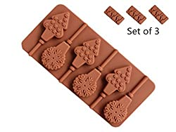 Set of 3 Candy Silicone Lollipop Mold Soap Chocolate Mould with Sticks  for Party Home Candies DIY Making (6 Cavity Christmas Tree Snowflake)
